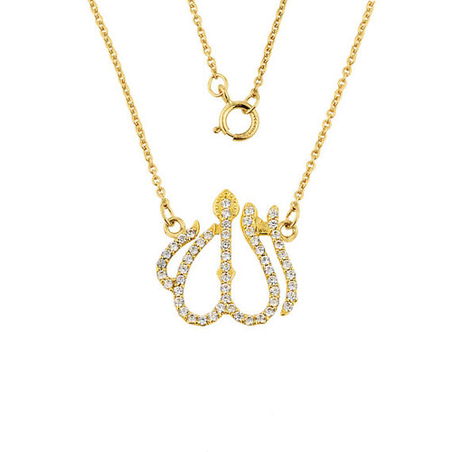 14k Gold Diamonds Studded Allah Pendant Necklace with Rolo Chain.