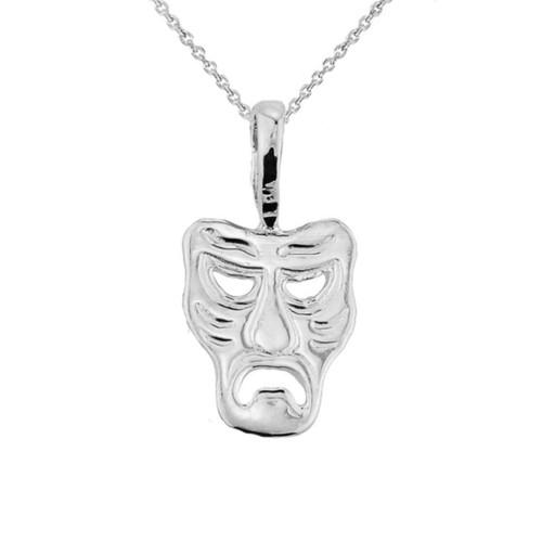 White Gold Tragedy Mask Pendant Necklace