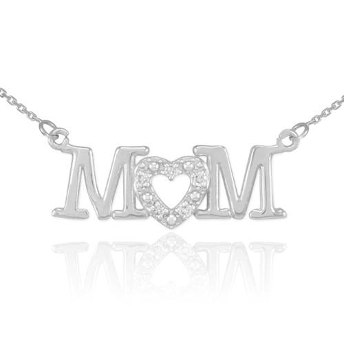 14K White Gold MOM Diamond Studded Heart Horizontal Necklace