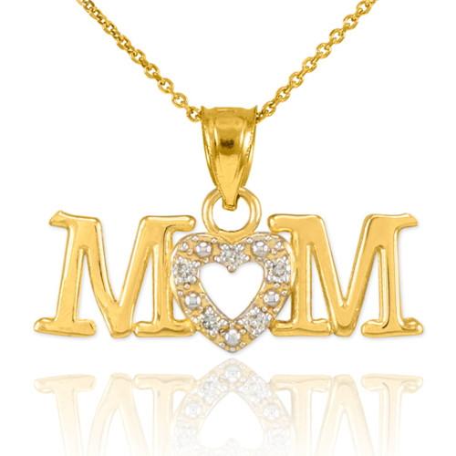 14K Gold MOM Diamond Studded Heart Pendant Necklace