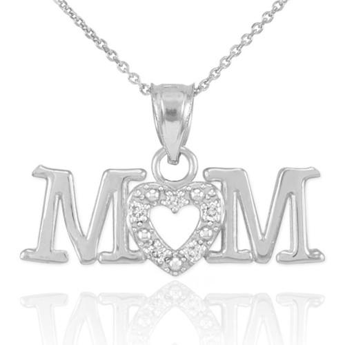14K White Gold MOM Diamond Studded Heart Pendant Necklace