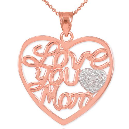 "14K Rose Gold Diamond Pave Heart ""Love You Mom"" Pendant Necklace"