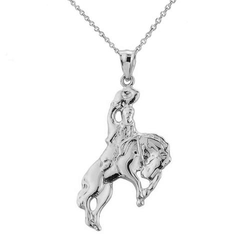 White Gold Cowboy Horse Charm Pendant