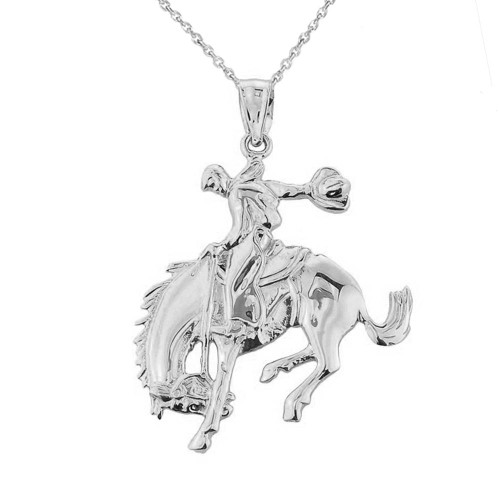 Solid White Gold Rodeo Cowboy on Horse Charm Pendant