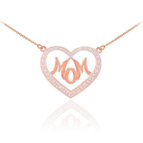 """14K Rose Gold Diamond Studded """"Mom"""" Heart Necklace"""