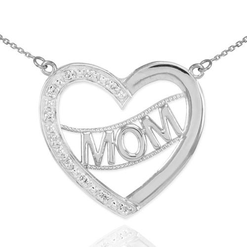 "14K White Gold Diamond Half Studded ""Mom"" Heart Necklace"