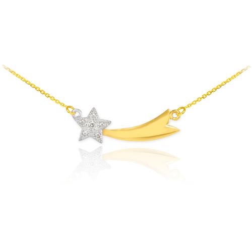 14K Gold Diamond Studded Shooting Star Necklace