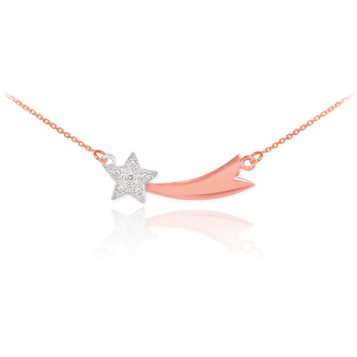 14K Rose Gold Diamond Studded Shooting Star Necklace