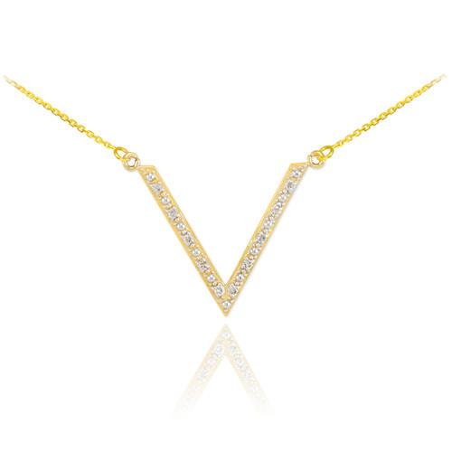 Diamond pave V necklace.