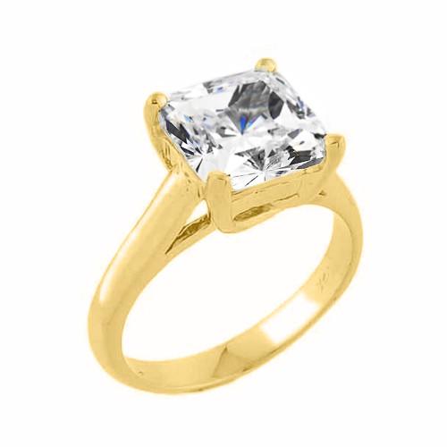 Yellow Gold Princess Cut Cubic Zirconia Engagement Ring