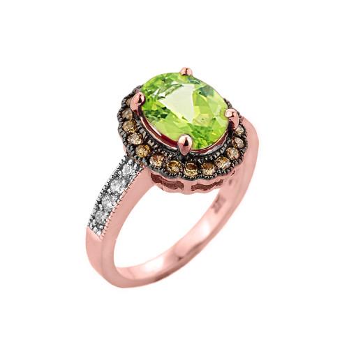 Rose Gold Peridot and Diamond Engagement Ring
