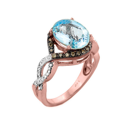 Rose Gold Aquamarine and Champagne Color Diamond Infinity Engagement Ring