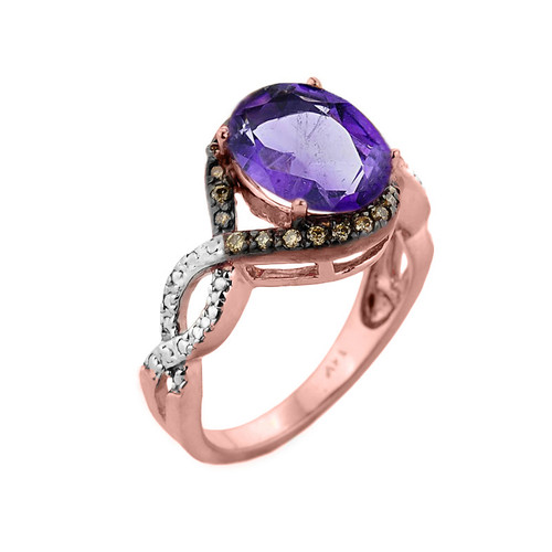 Rose Gold Amethyst and Champagne Color Diamond Infinity Engagement Ring