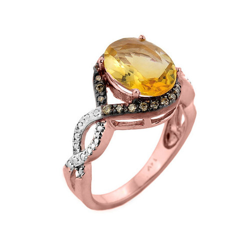 Rose Gold Citrine and Champagne Color Diamond Infinity Engagement Ring