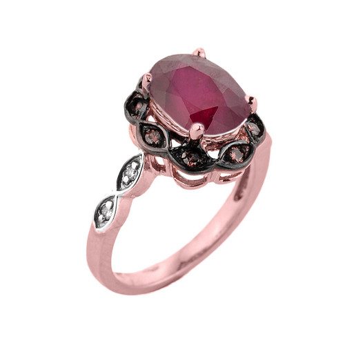 Rose Gold Ruby and Diamond Proposal Ring