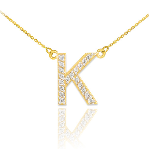 "14k Gold Letter ""K"" Diamond Initial Necklace"