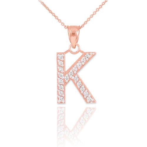 "Rose Gold Letter ""K"" Diamond Initial Pendant Necklace"
