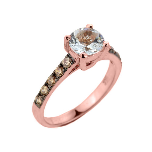 Rose Gold Aquamarine and Diamond Solitaire Proposal Ring