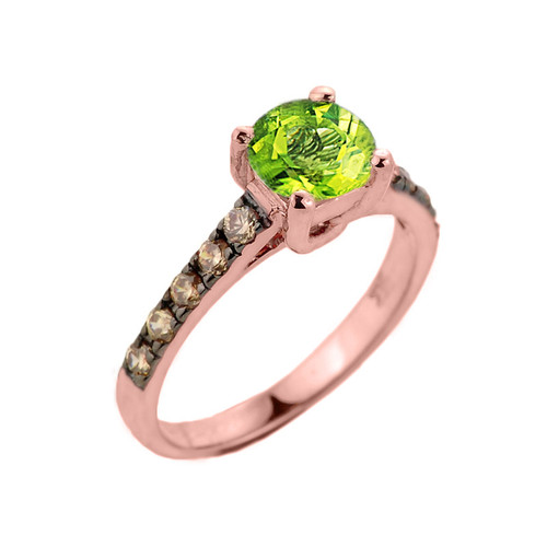 Rose Gold Peridot and Diamond Solitaire Proposal Ring