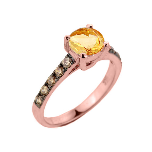 Rose Gold Citrine and Diamond Solitaire Proposal Ring