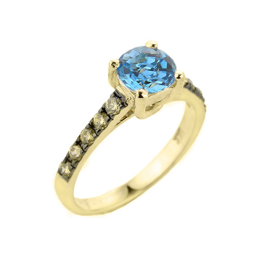 Yellow Gold Blue Topaz and Diamond Solitaire Ring