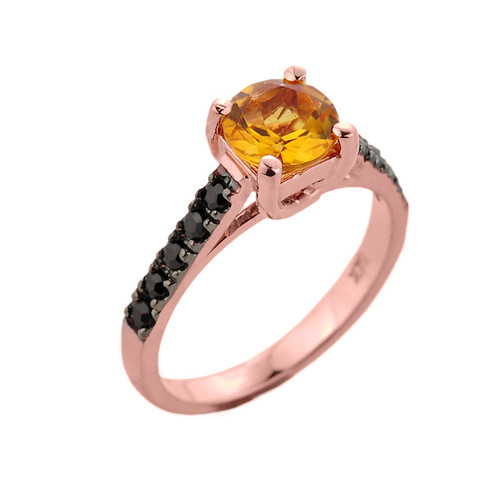 Rose Gold Citrine and Black Diamond Solitaire Engagement Ring