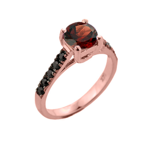 Rose Gold Garnet and Black Diamond Solitaire Engagement Ring