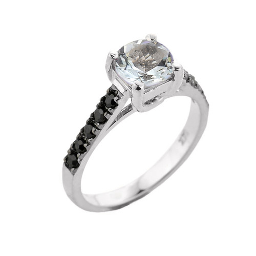 White Gold Aquamarine and Black Diamond Solitaire Engagement Ring