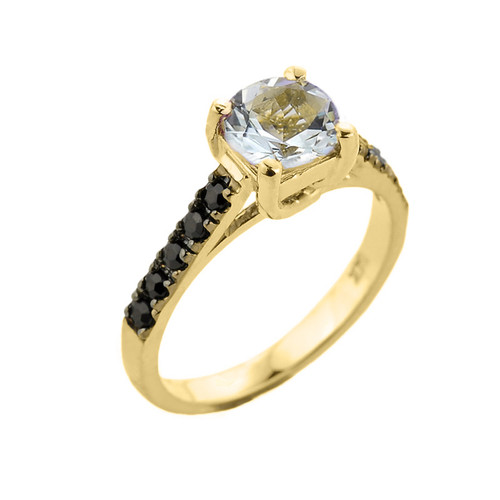 Yellow Gold Aquamarine and Black Diamond Solitaire Engagement Ring
