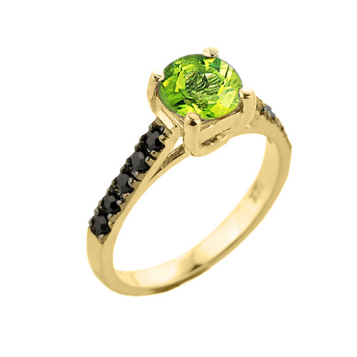 Yellow Gold Peridot and Black Diamond Solitaire Engagement Ring