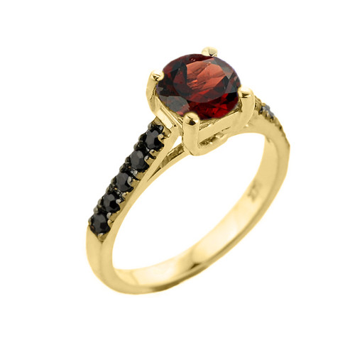 Yellow Gold Garnet and Black Diamond Solitaire Engagement Ring