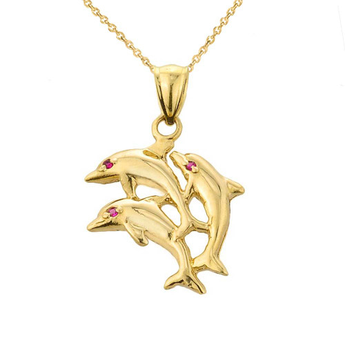 Yellow Gold Flying Dolphins Charm Pendant