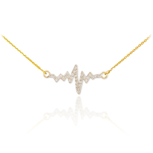14K Gold Heartbeat Diamond Necklace