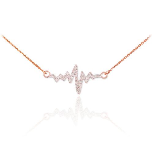 14K Rose Gold Heartbeat Diamond Necklace