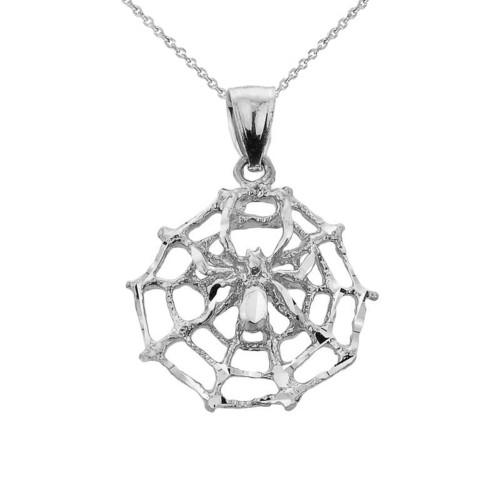White Gold Spider Web Charm Pendant Necklace