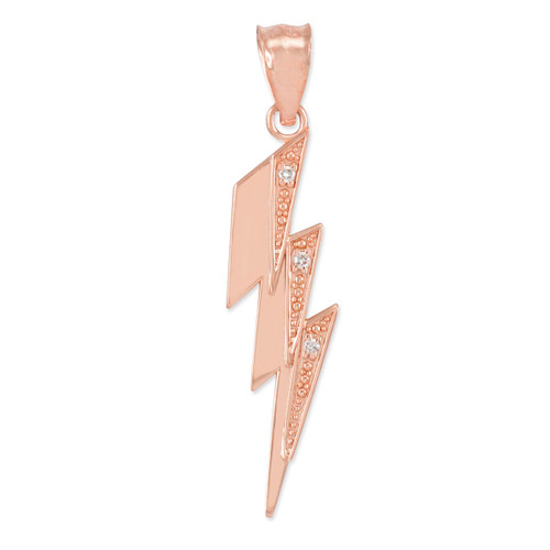 Rose Gold Thunderbolt Pendant  Necklace with Diamonds