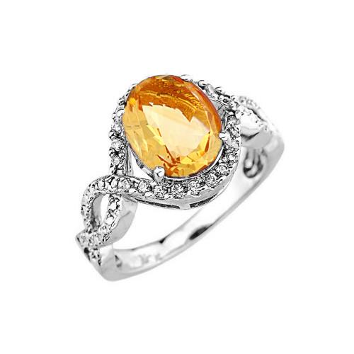 White Gold Citrine and Diamond Infinity Engagement Ring