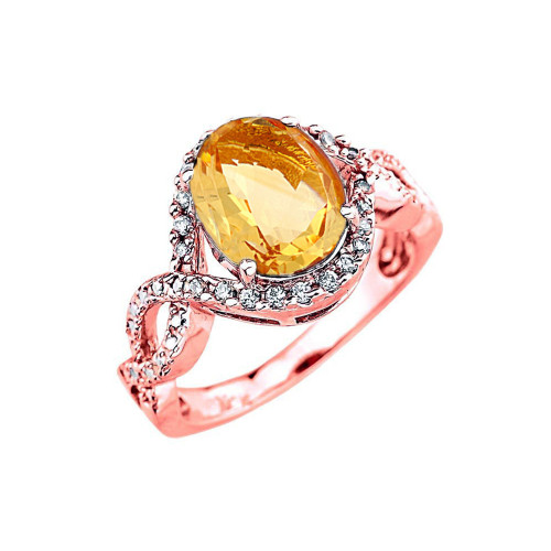 Rose Gold Citrine and Diamond Infinity Engagement Ring
