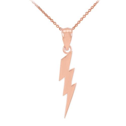 Rose Gold Thunderbolt Charm Pendant Necklace