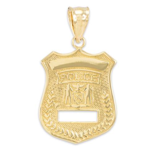Gold Police Badge Pendant