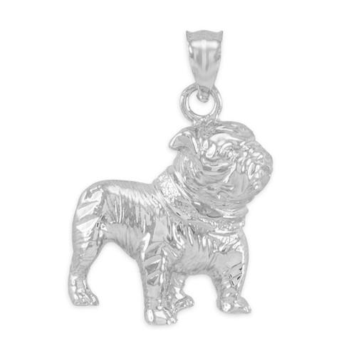 White Gold Bulldog Pendant Necklace