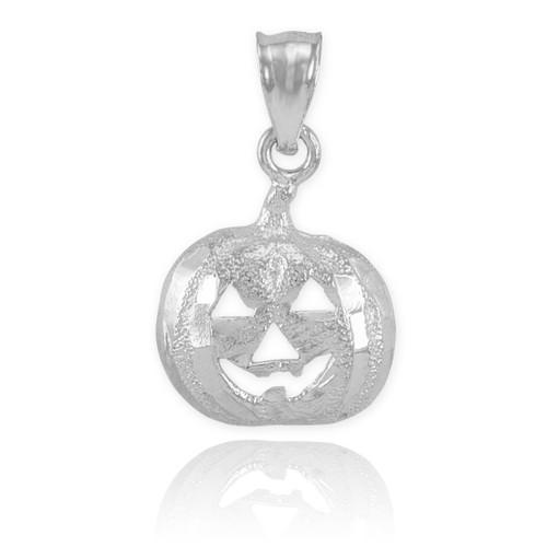 White Gold Pumpkin Head Charm Pendant Necklace