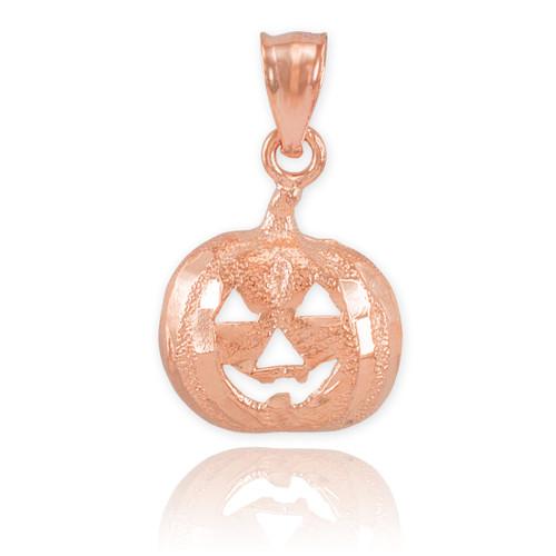 Rose Gold Pumpkin Head Charm Pendant Necklace