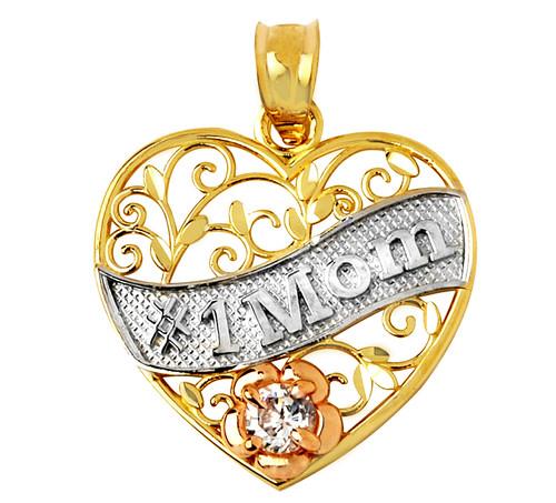#1 Mom Gold Flower Pendant