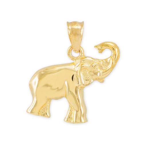 Gold Elephant Charm Pendant Necklace