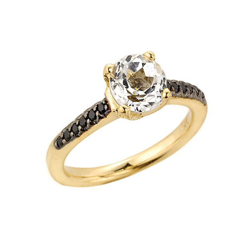 Yellow Gold White Topaz and Black Diamond Solitaire Engagement Ring