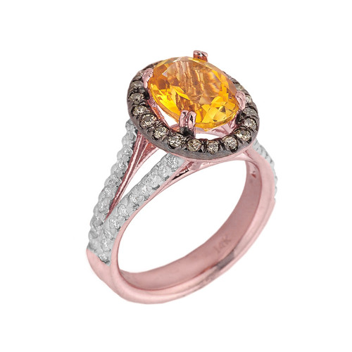 14k Rose Gold Citrine and Diamond Engagement Ring