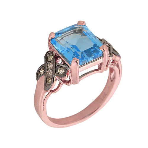 14k Rose Gold Blue Topaz and Champagne Color Diamond Engagement Ring