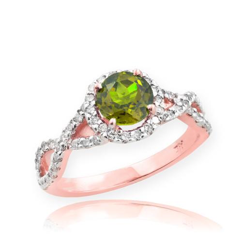 Rose Gold Peridot Birthstone Infinity Ring with Diamonds