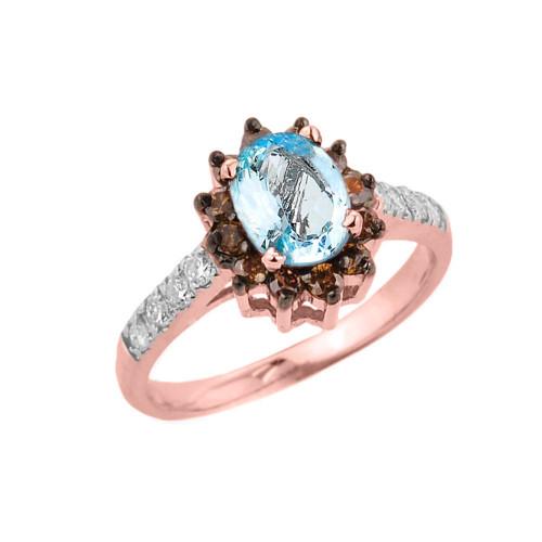 14k Rose Gold Aquamarine and Diamond Ladies Ring